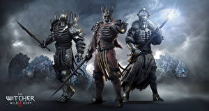 Pictures The Witcher 3: Wild Hunt Magic Warrior Monster Three 3 Armour Swords Wonder-Worker, King, Earl Games Fantasy
