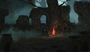 Wallpapers Warrior Ruins Bonfire Fantasy