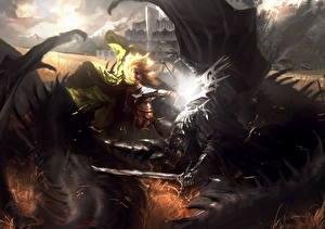 Bakgrunnsbilder Ringenes herre Slaget Sverd Rustning Fan kunst Fantasy
