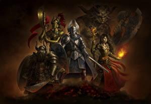 Wallpaper Warriors Magic Swords Shield Battle axes Mage Staff Heroes Fantasy