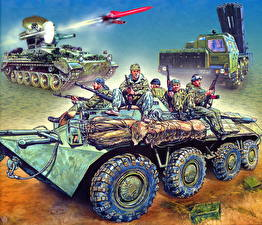 Pictures Armoured personnel carrier Missile system Soldier Painting Art