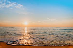 Bilder Meer Sonnenaufgänge und Sonnenuntergänge Himmel Sonne Horizont Natur