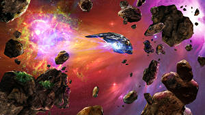 Bureaubladachtergronden Schepen Planetoïden Fantasy Ruimte