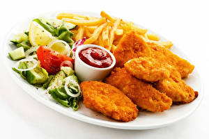 Hintergrundbilder Fritten Nuggets Ketchup Lebensmittel