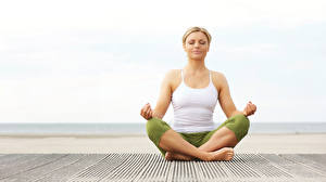 Fonds d'écran Position du lotus Yoga S'asseyant Débardeur Filles