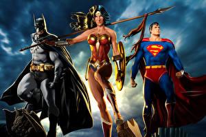 Bakgrunnsbilder Supermann helten Batman superhelt Wonder Woman helten Tre 3 Spyd Skjold (beskyttelse) Kappe plagg Fantasy Unge_kvinner