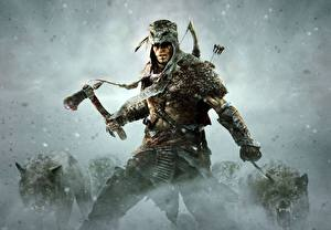 Wallpaper Assassin's Creed 3 Warrior Wolves Battle axes Connor
