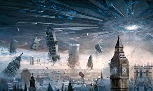 Fotos Technik Fantasy Katastrophen England Big Ben UFO Independence Day Resurgence Film