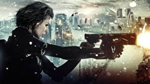 Wallpaper Milla Jovovich Resident Evil - Movies Submachine gun SMG Resident Evil: The Final Chapter Firing Girls Celebrities