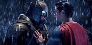 Wallpapers Batman v Superman: Dawn of Justice Batman hero Superman hero Masks Rain Man Henry Cavill Ben Affleck Two Helmet film Celebrities