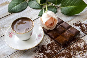 Wallpapers Still-life Coffee Chocolate Roses Chocolate bar Cup Food