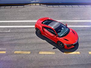 Wallpaper Honda Red From above Asphalt 2016 NSX auto