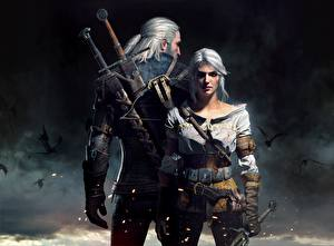 Fotos The Witcher 3: Wild Hunt Mann Geralt von Rivia Krieger 2 Schwert Ciri Mädchens Fantasy