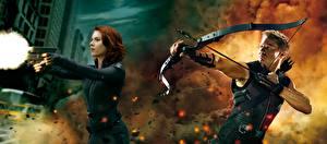 Wallpapers Archers Pistols Scarlett Johansson Avengers: Age of Ultron Daniel Craig Firing 2 Natasha Romanoff, Hawkeye film