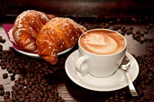Bilder Kaffee Croissant Cappuccino Tasse Getreide Untertasse Lebensmittel