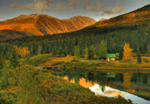 Images USA Mountains Autumn Forests Lake Building Alaska Cottage on Lake Nature