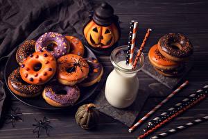 Images Pastry Halloween Milk Pumpkin Doughnut Highball glass Food