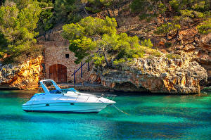 Hintergrundbilder Spanien Jacht Meer Mallorca Felsen Mediterranean sea Natur