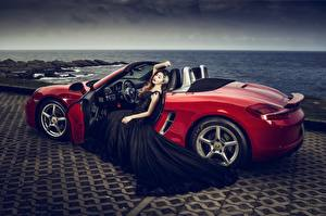 Pictures Asiatic Cabriolet Red Gown Glamour automobile Girls
