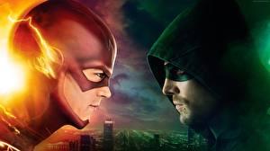 Wallpapers Heroes comics The Flash 2014 TV series The Flash hero Two Hood headgear Arrow, Stephen Amell, 4 season film Fantasy
