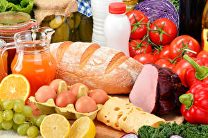 Pictures Still-life Bread Cheese Juice Ham Vegetables Fruit Egg Food