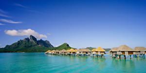 Photo French Polynesia Tropics Sea Mountain Sky Bora Bora Bungalow Nature