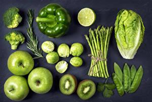 Wallpaper Vegetables Fruit Apples Bell pepper Kiwi Cabbage Lime Black background Green Food