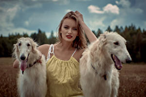 Pictures Dogs Sighthound Two Blonde girl Staring Russian hunting sighthound Girls Animals