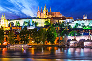 Picture Prague Czech Republic Houses River Ships Marinas Bridge Night time Cities