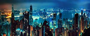 Hintergrundbilder Hongkong China Haus Wolkenkratzer Flusse Nacht Megalopolis Städte