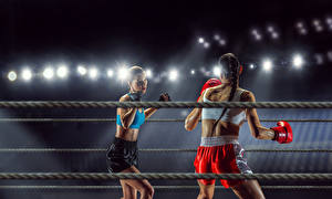 Photo Boxing Two Uniform Girls Sport