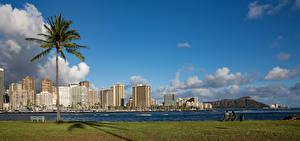Wallpapers Building Rivers Sky USA Hawaii Palm trees Clouds Waikiki Honolulu Cities