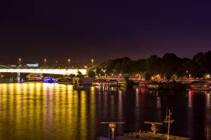 Picture River Bridge Marinas Belgrade Serbia Night time