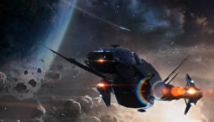Bureaubladachtergronden Star Citizen Schepen Carrack computerspel Ruimte Fantasy