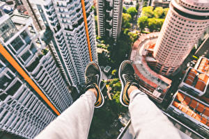 Picture Skyscrapers Legs From above Sneakers Cities