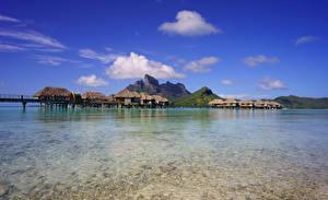 Wallpaper French Polynesia Tropics Sea Scenery Mountains Sky Bora Bora Bungalow Nature