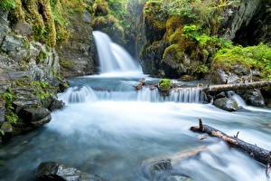 Hintergrundbilder USA Wasserfall Alaska Laubmoose Felsen Virgin Falls Natur