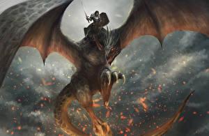 Bureaubladachtergronden Draken Krijger Vleugels Zwaard Schild (bescherming) Fantasy