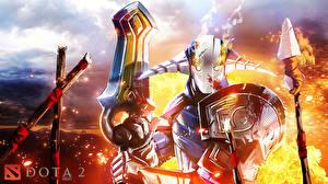 Fotos DOTA 2 Sven Krieger Schild (Schutzwaffe) Schwert Helm Rüstung computerspiel Fantasy
