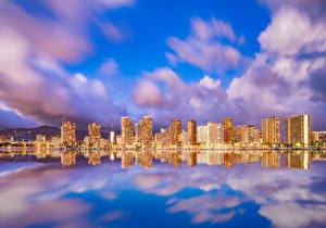 Image Houses Sea Sky USA Hawaii Clouds Waikiki Honolulu Cities