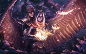 Photo Vengeful Spirit Skywrath Mage Warrior Angels Sorcery DOTA 2 vdeo game Fantasy