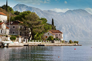 Picture Montenegro Building Mountains Sea Perast Cities