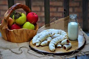 Fotos Backware Milch Äpfel Flasche Weidenkorb Lebensmittel
