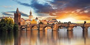 Wallpapers Bridges Rivers Czech Republic Prague Charles Bridge Towers Cities