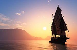 Images Sailing Sunrise and sunset Sea Sky Sun 3D Graphics Nature