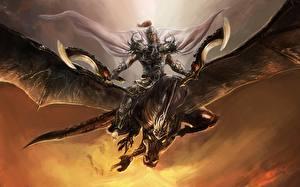 Bureaubladachtergronden Draken Krijger Een harnas Fantasy