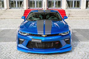 Wallpaper Chevrolet Tuning Metallic Front Blue 2016 Geiger Camaro Supercharged 630 automobile