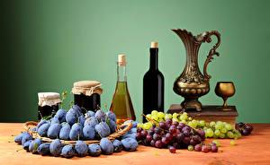 Pictures Still-life Wine Grapes Plums Pitcher Bottle Jar Stemware Food