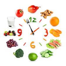 Wallpaper Fruit Clock Pears Grapes Vegetables Fish - Food Orange fruit Clock face Design Highball glass White background Food