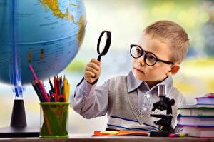 Photo Boys Eyeglasses Globe Pencils Children